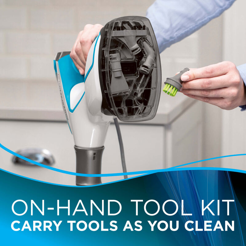 Onboard Storage Text: On-hand tool kit carry tools as you clean