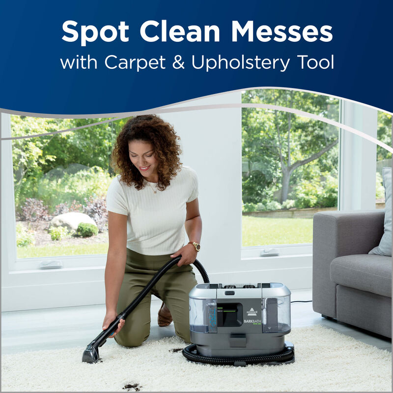 BARKBATH Dual Use Using Machine as Spot Cleaner to Clean Stain on Carpet. Text: Spot Clean Messes with Carpet & Upholstery Tool