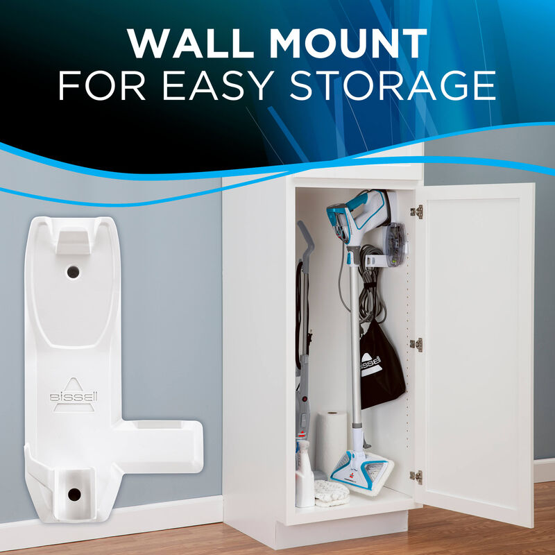 Storage Text: Wall mount for easy storage