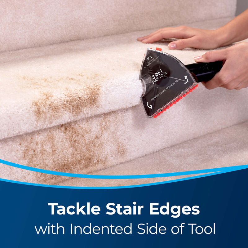 3-in-1 Stair Tool Image of Tool Cleaning Stair Edge. Text: Tackle Stair Edges with Indented Side of Tool