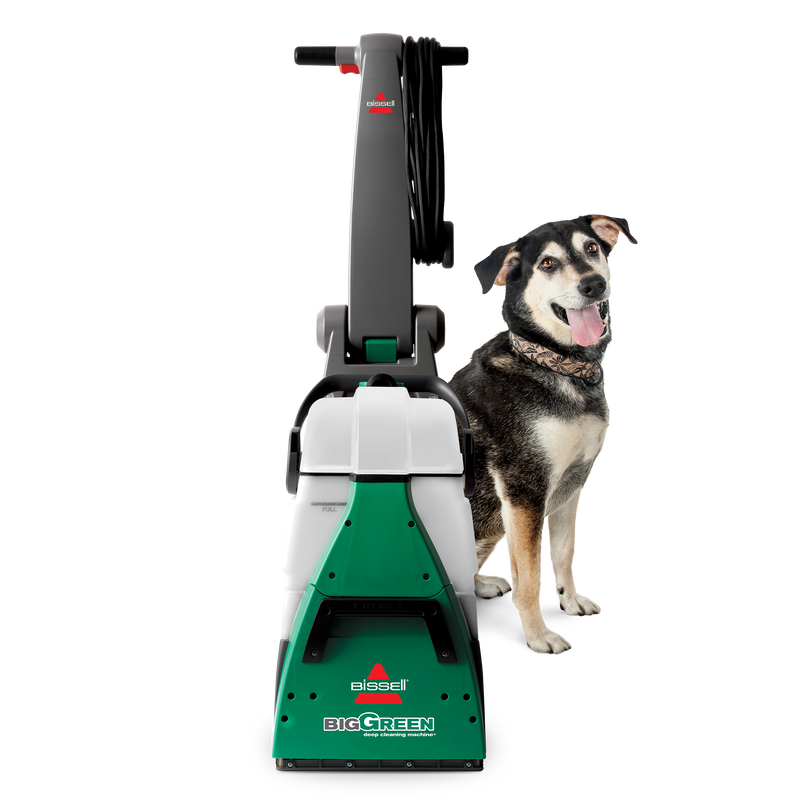 Big Green Machine. Machine with Dog