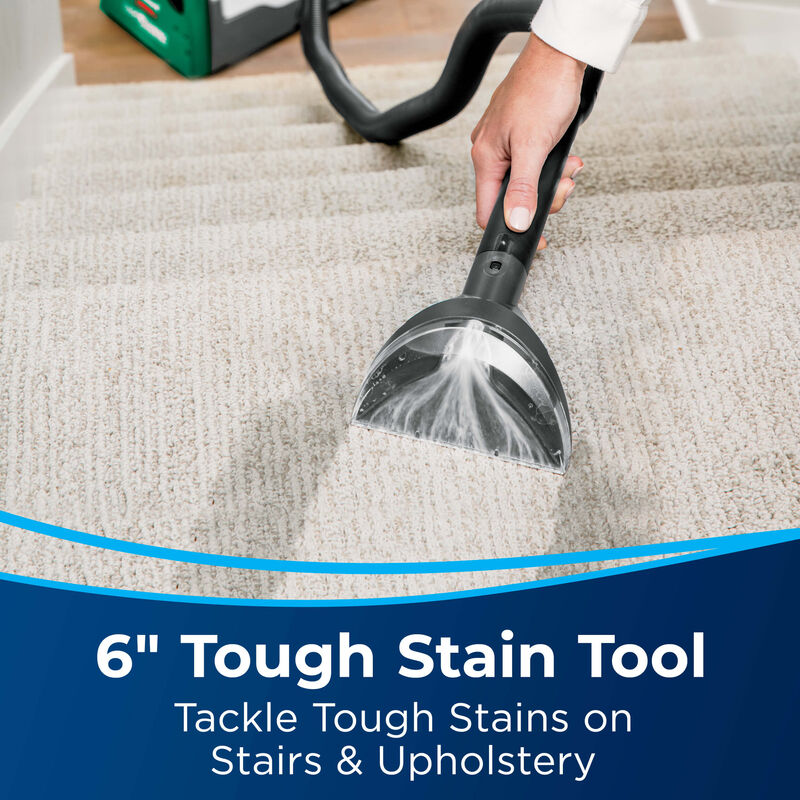 """Deep Cleaning Stairs with 6"""" Stain Tool. Text: 6"""" Tough Stain Tool Tackle Tough Stains on Stairs & Upholstery"""