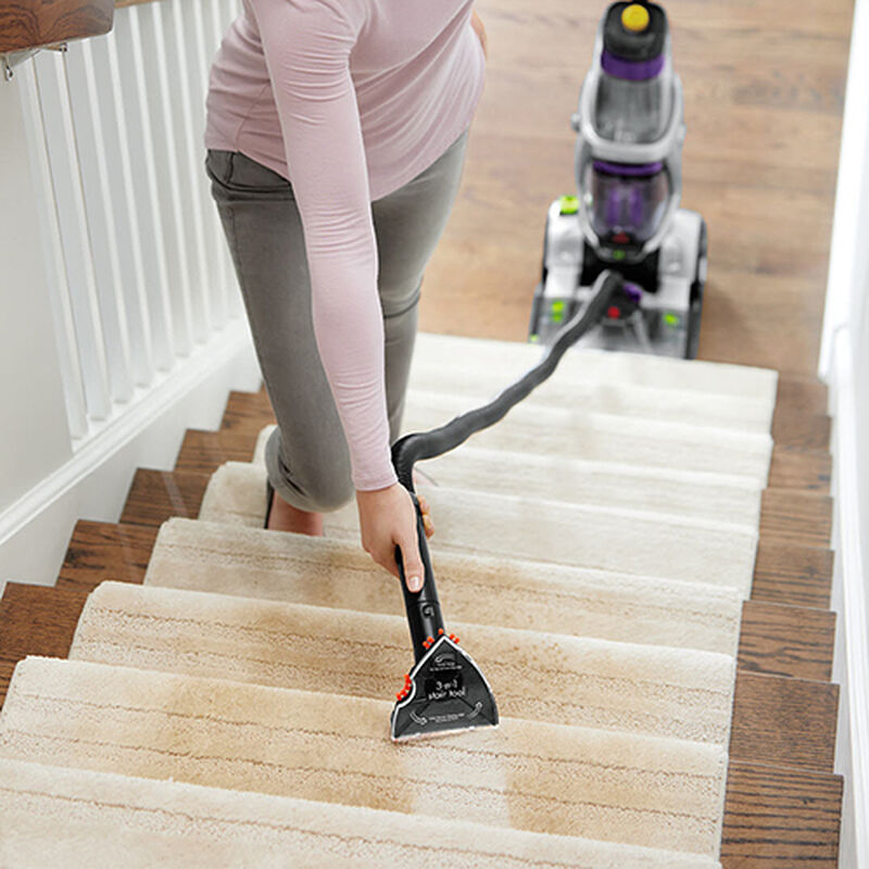 3 in 1 Stair Tool for Carpet Cleaners 1603650 Using Flat Side of Tool on Stairs
