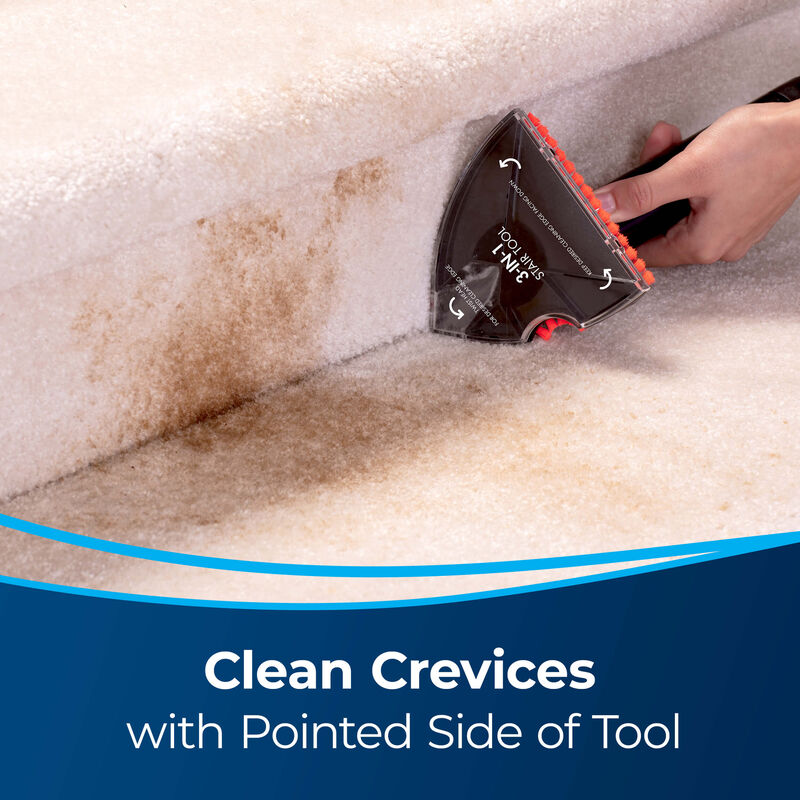 3-in-1 Stair Tool Image cleaning crevice of stairs. Text: Clean Crevices with Pointed Side of Tool