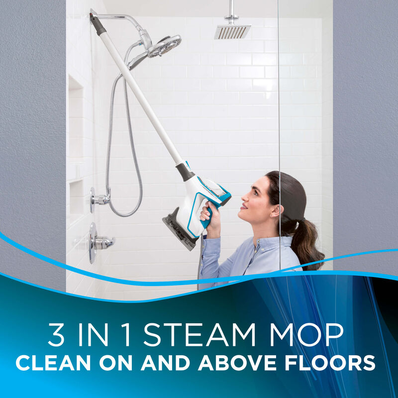 Bathroom cleaning Text: 3 in 1 Steam mop clean on and above floors
