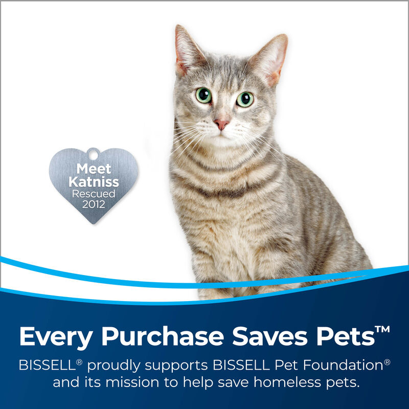 BISSELL AeroSlim Hand Vacuum 29869 Cat in Image. Text: Every Purchase Saves Pets. BISSELL proudly supports BISSELL Pet Foundation and its mission to help save homeless pets.