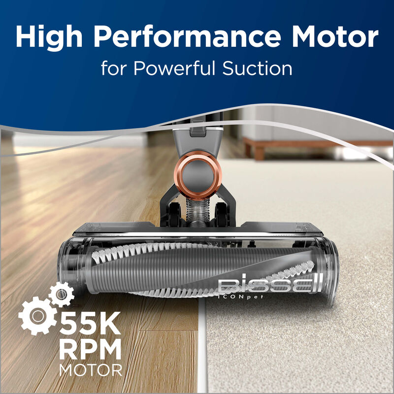 Showing Foot of Vacuum on Hard Flooring and Carpet. 55K RPM Motor Text: High Performance Motor for Powerful Suction