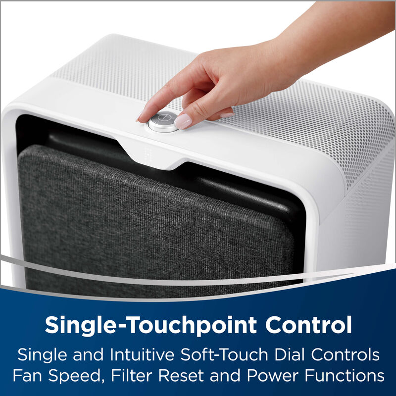 Power Control Button: Single-Touchpoint Control. Single and intuitive soft-touch dial controls fan speed, filter reset and power functions.