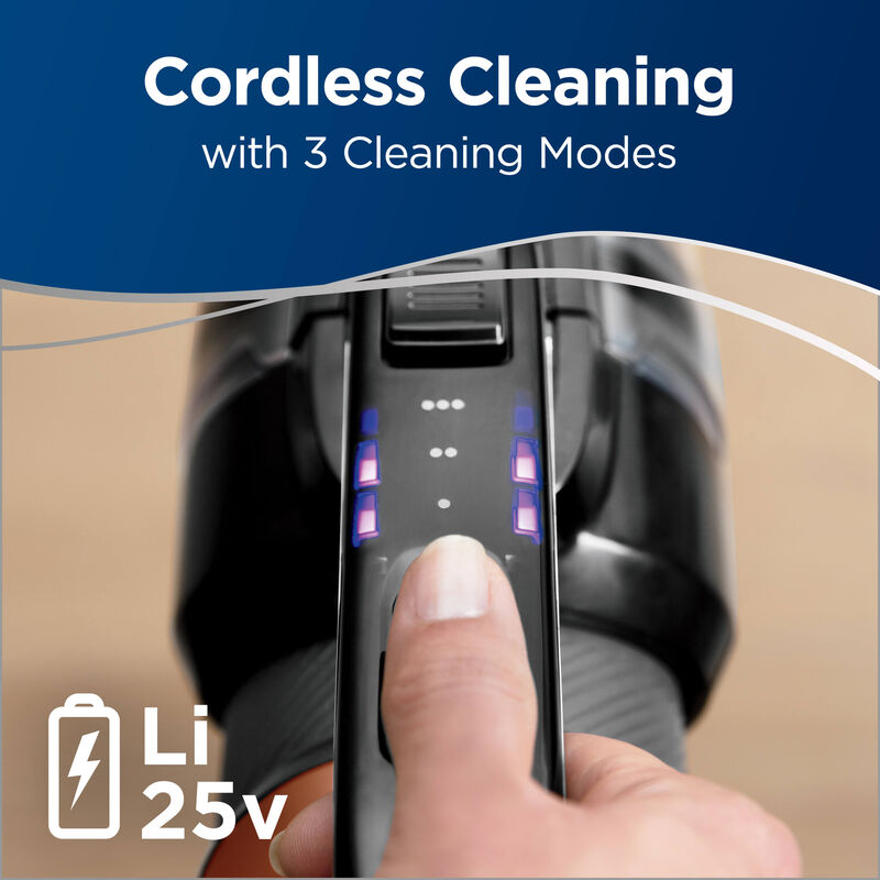 Showing Three Cleaning Modes on Handle LI 25V. Text: Cordless Cleaning with 3 Cleaning Modes