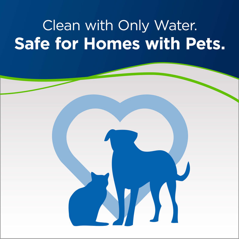 PowerFresh Pet Steam Mop Cat and Dog Surrounded by Heart. Text: Clean with Only Water. Safe for Homes with Pets