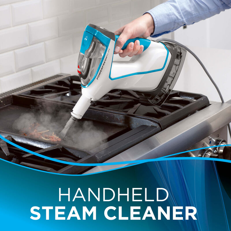 Cleaning the stove Text:Handheld Steam Cleaner