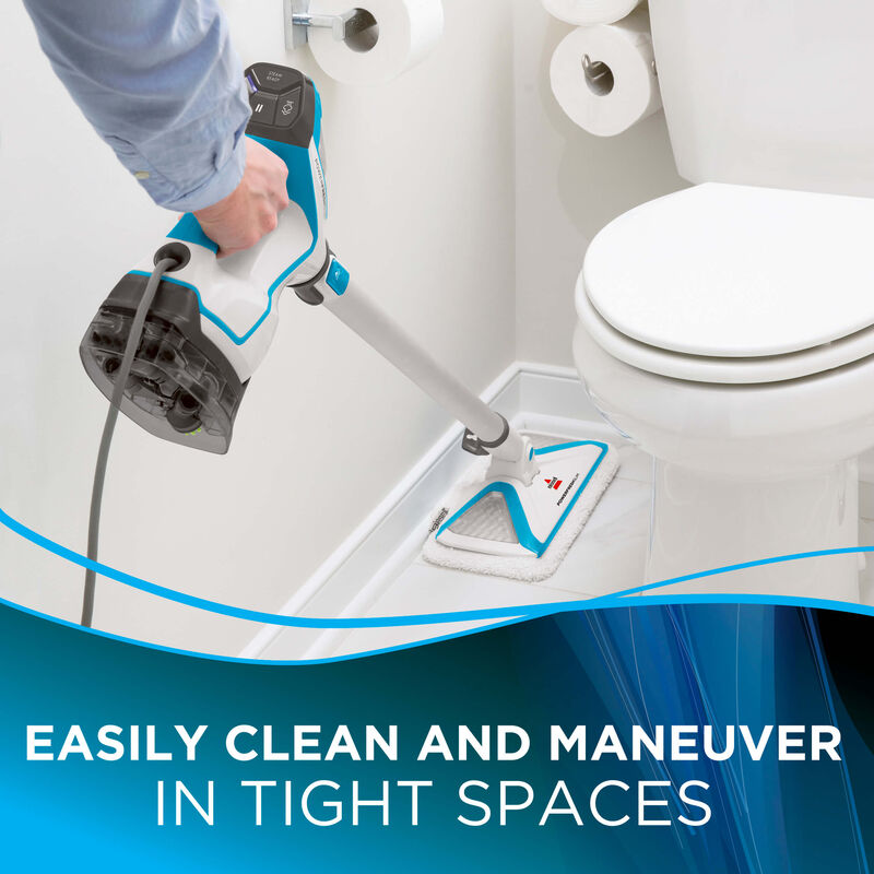 Cleaning tight spaces Text:Easily clean and maneuver in tight spaces