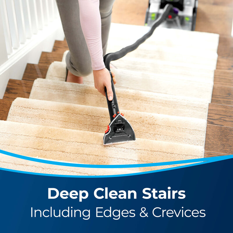 3-in-1 Stair Tool Image of Tool Cleaning Stairs. Text: Deep Clean Stairs Including Edges & Crevices