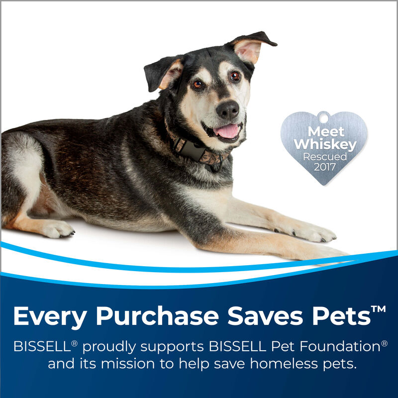 Dog with Heart Badge Meet Whisky Rescued 2017. Text: Every Purchase Saves Pets. BISSELL proudly supports BISSELL Pet Foundation and its mission to help save homeless pets.