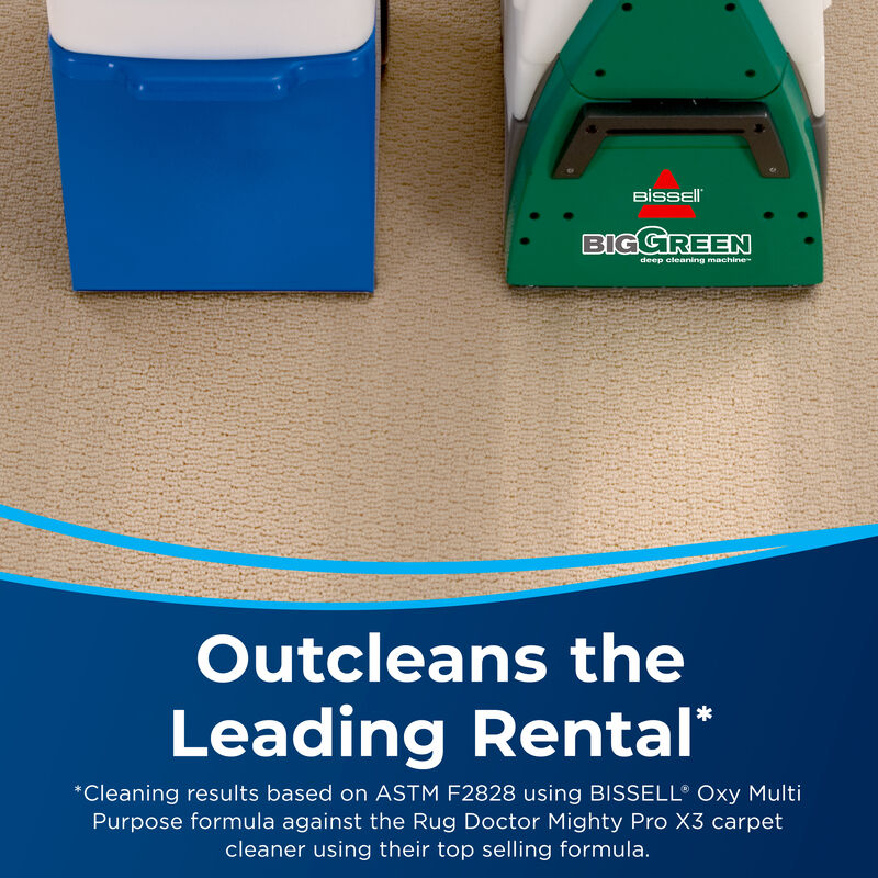 Left Image Ordinary Rental Cleaner. Right Image Big Green Machine. Text: Outcleans the Leading Rental.