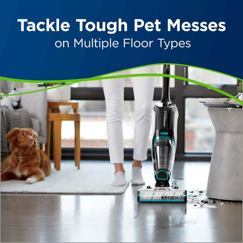 BISSELL CrossWave Cordless Max Multi Surface Wet Dry Vac Pet Multi-Surface Brush Roll 1618641 pet messes