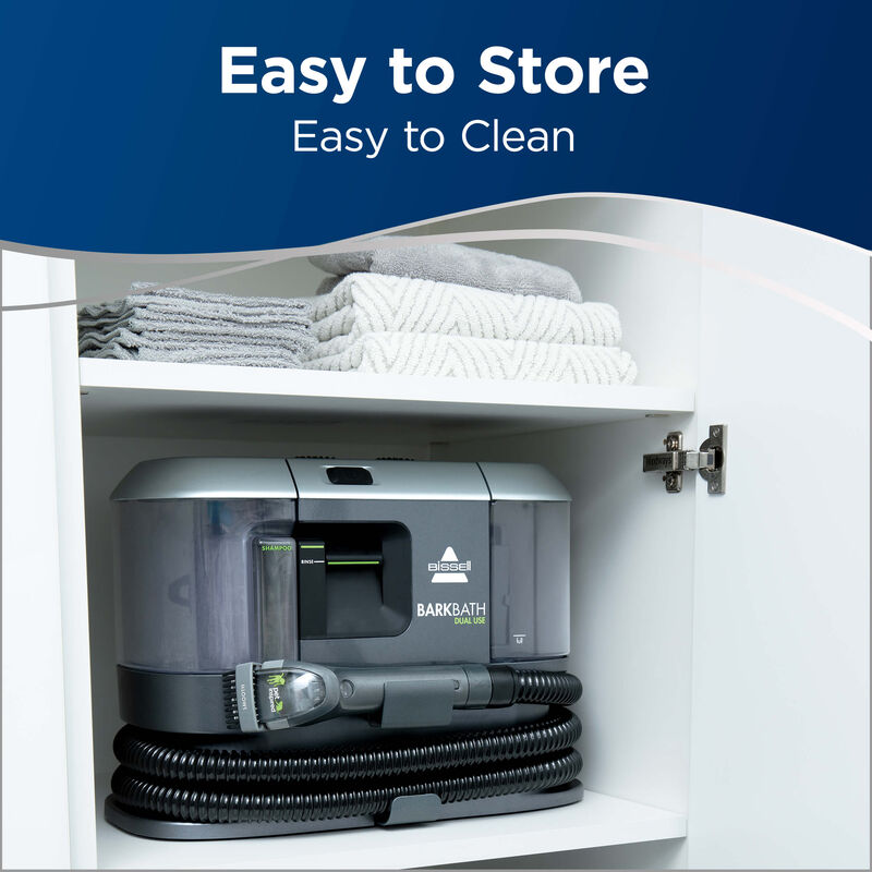 BARKBATH Dual Use Store in Closet. Text: Easy to Store Easy to Clean