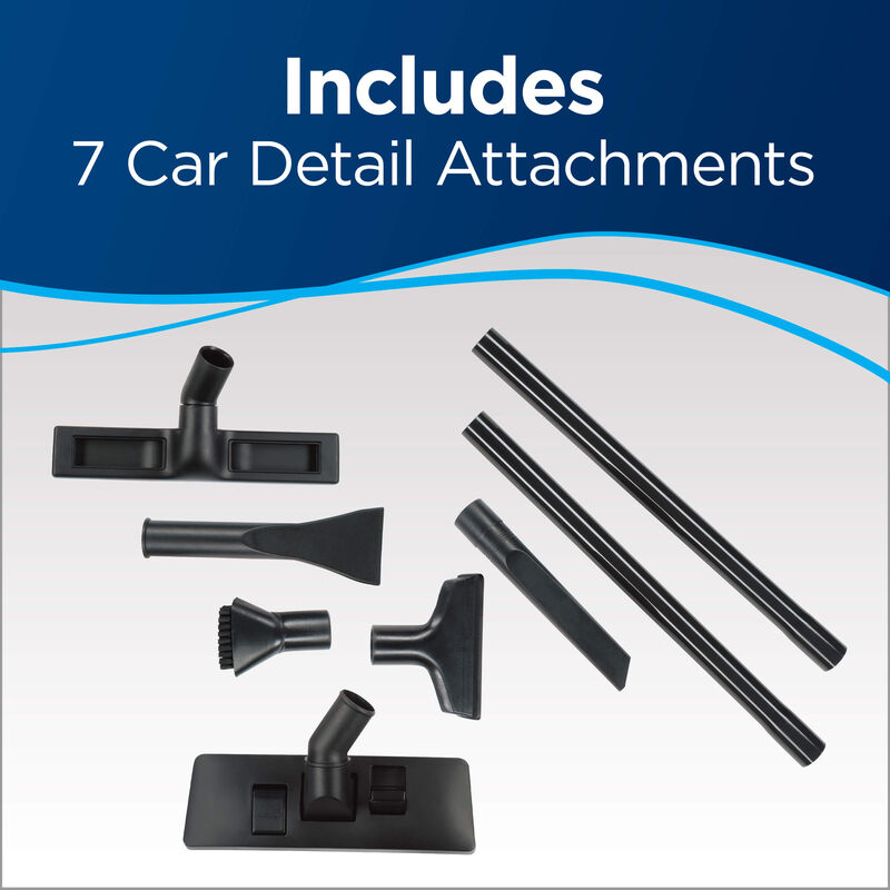 Parts: Includes 7 Car Detail Attachments