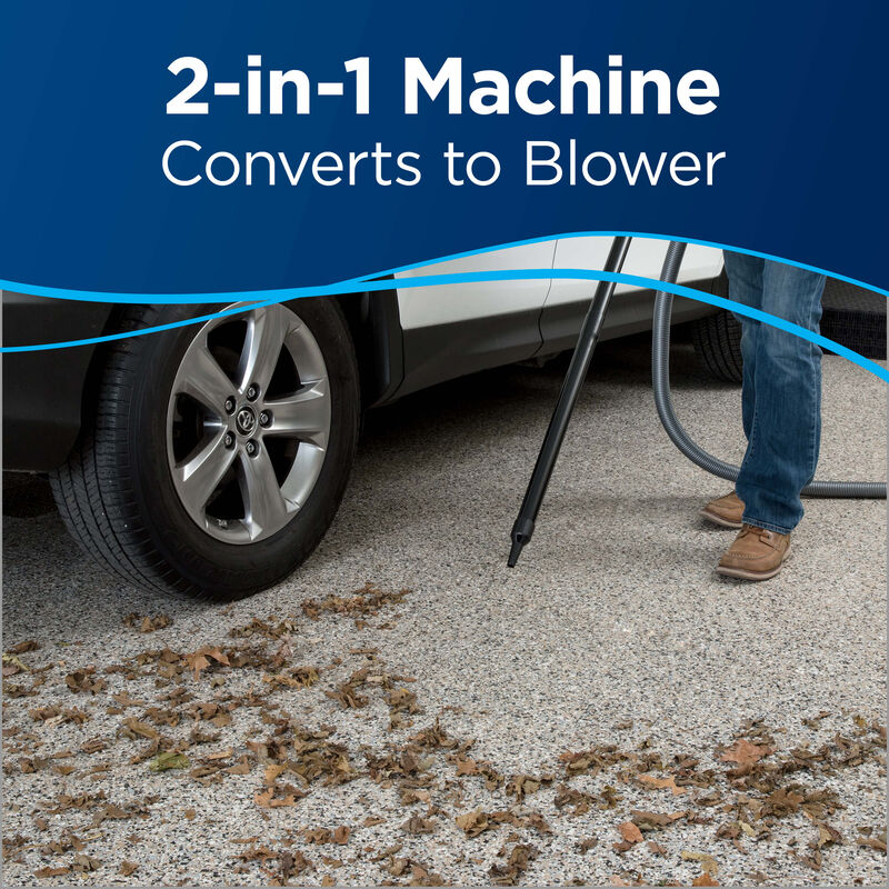 Blowing leaves outdoor Text: 2-in-1 Machine Converts to Blower