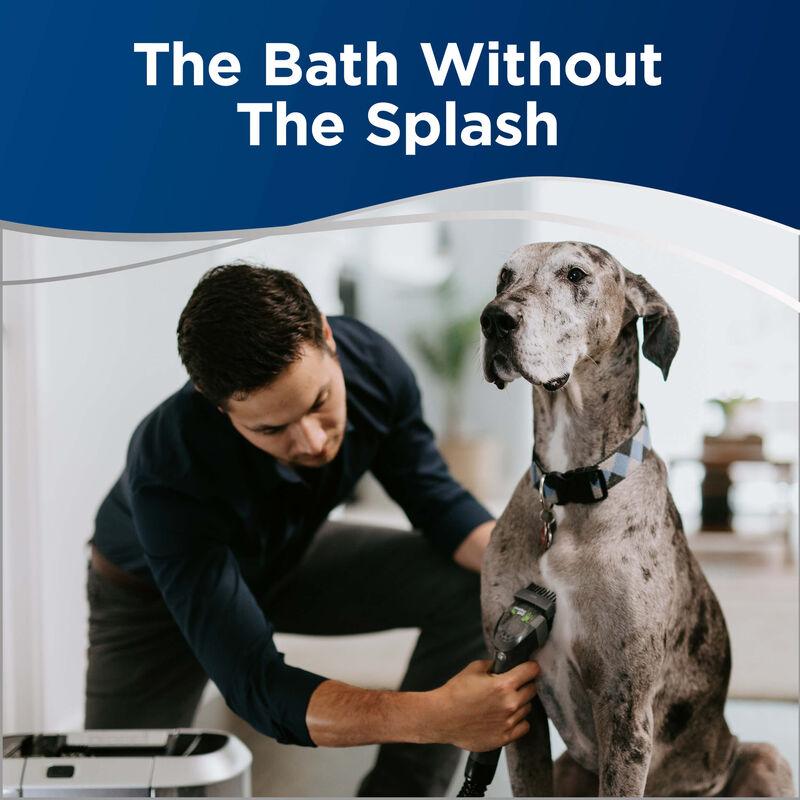 BARKBATH Dual Use Bathing Using Machine to Bathe Dog Text: The Bath Without The Splash